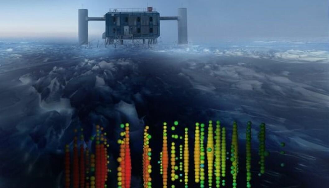 IceCube er begravet under halvannen kilometer is ved Sydpolen på Antarktis. Oppe på isen har forskerne et laboratorium. Boblene nederst angir hvor mye lys detektorene fanget opp da en av de mest energirike nøytrinoene kom forbi.  (Illustrasjon: IceCube Collaboration)