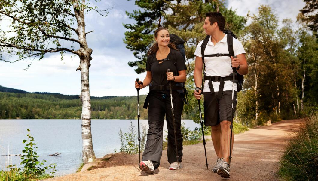 Turgåing er den aktiviteten vi totalt sett bruker mest tid på. 55 prosent av utvalget rapporterer at de går på tur en gang per uke eller oftere. (Illustrasjonsfoto: Microstock)