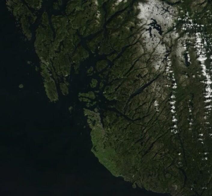 Rogaland sett fra NASAs satellitt Terra. (Bilde: NASA Terra MODIS)