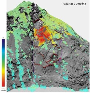 """InSAR-kart av Åkneset (fjellet fra """"Bølgen"""") basert på data fra Radarsat-2. De røde stiplede linjene viser sprekker som forskerne har tegnet inn, mens de oransje og røde flekkene viser hvor utglidningen er størst. De rødeste partiene viser en utglidning/nedsynking på 15 mm per år.  (Foto: NGU/Norut)"""