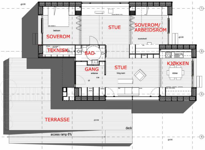 Arkitekttegning av ZEB Living Lab på Gløshaugen i Trondheim. (Foto: (Figur: Master of Architecture PhD Luca Finocchiaro,førsteamanuensis ved Institutt for   Byggekunst, Historie og Teknologi, Fakultet for Arkitektur og Billedkunst,NTNU. Tekster forstørret av forskning.no))