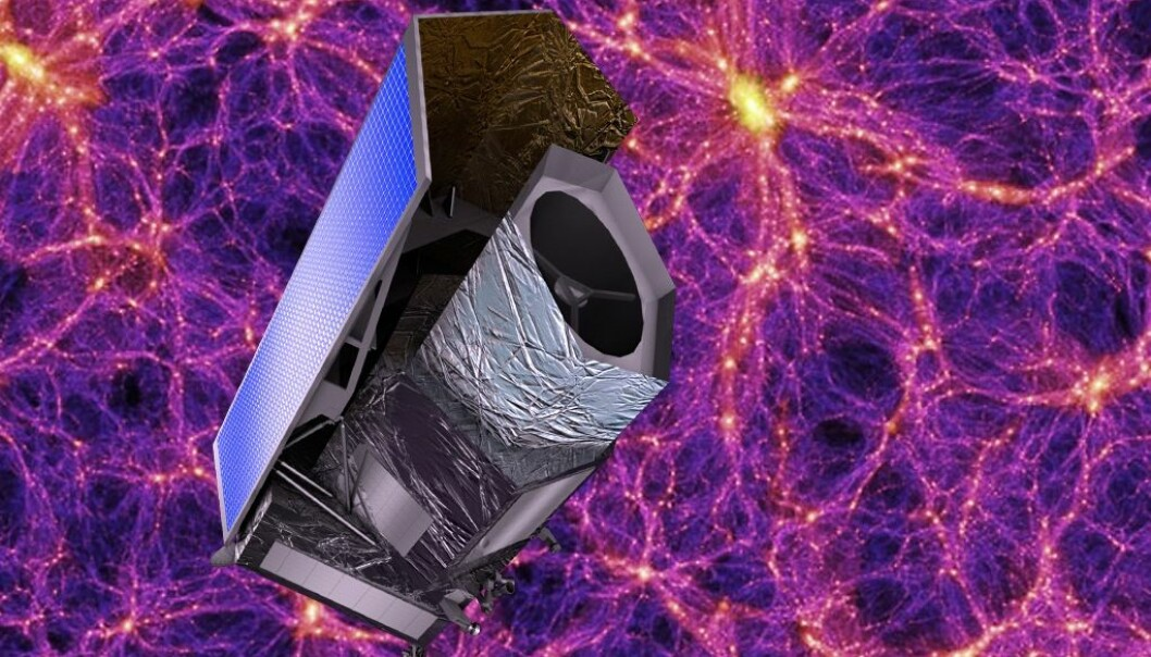Når den europeiske romfartsorganisasjonen ESA skyter opp romteleskopet Euclid om fem år, har astrofysikerne store forhåpninger om å avkle noen av hemmelighetene til mørk materie og mørk energi. (Illustrasjon: ESA)