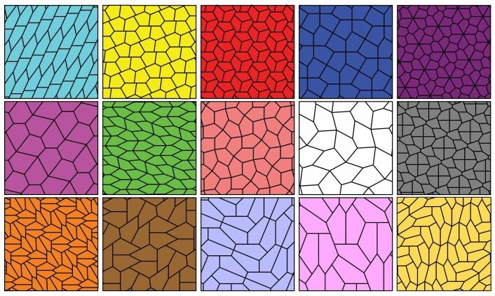 Her er alle de 15 kjente typene av konvekse femkanter som kan dekke et uendelig plan. (Foto: (Illustrasjon: EdPeggJr, Creative Commons 4.0))