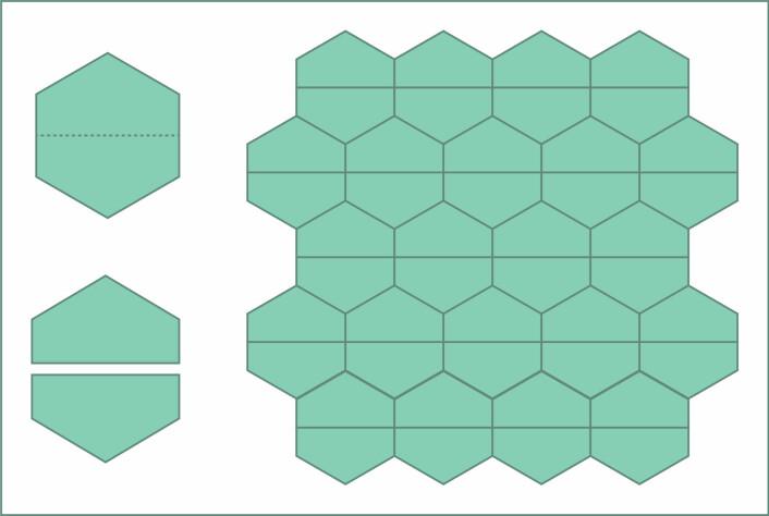 Til venstre: Slik lager du to identiske femkanter av en regulær sekskant. Til høyre: Du kjenner igjen hønsenettingen, ikke sant? (Foto: (Illustrasjon: Solveig Borkenhagen))
