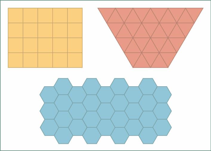 Man trenger ikke være matematiker for å se at både trekanter, firkanter og sekskanter kan dekke en uendelig flate. (Foto: (Illustrasjon: Solveig Borkenhagen))