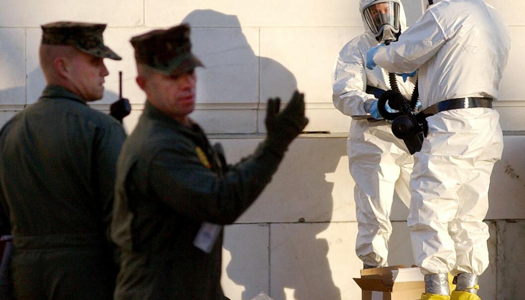 Mikroskopisk pulver kan være et svært farlig våpen. I 2004 ble giftstoffet ricin funnet i senatet i USA. Ingen ble skadet. (Foto: Jonathan Ernst/Reuters)
