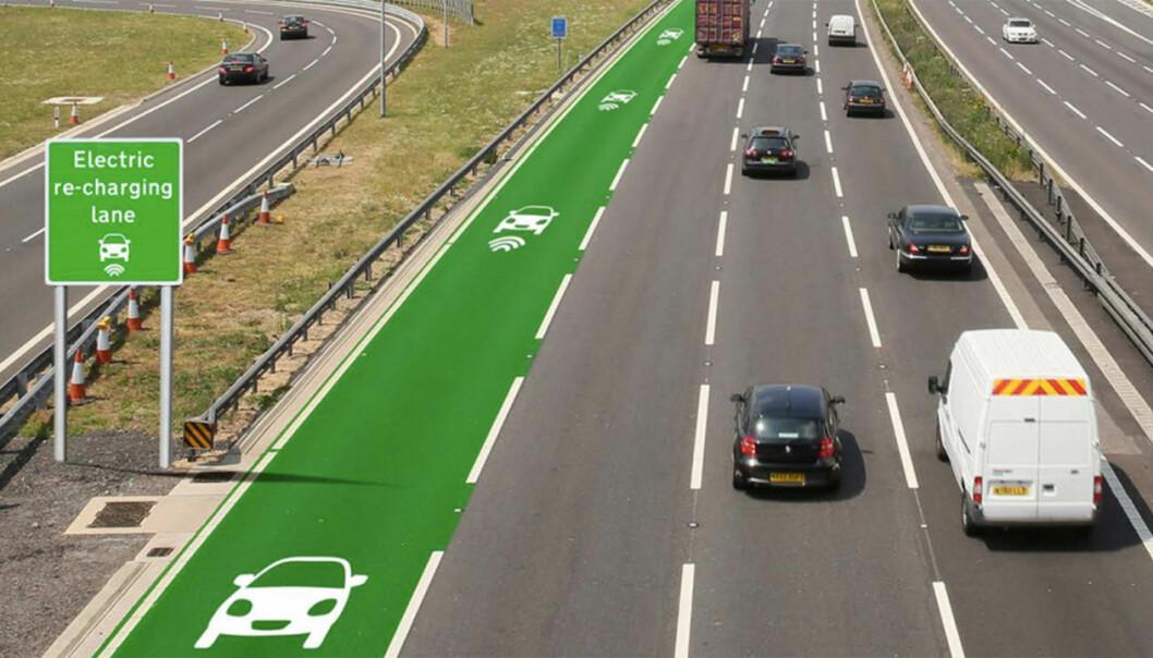 Når du ser at batteriet begynner å ebbe ut, skal det i fremtiden bare være å skifte fil. (Foto: Highways England)
