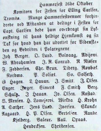 """Telegram fra Hammerfest lest opp på festen til ære for Elling Carlsen i Tromsø 26. oktober 1874, signert bl.a. """"Adijewi"""" og """"Rønbæk"""". Tromsø Stiftstidende 29.10.1874, s. 2."""
