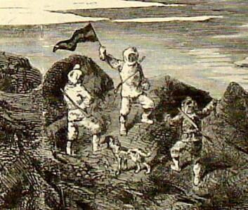 Sledeekspedisjon ledet av Julius Payer reiser flagget på det nordligste punkt på Frans Josefs Land. Detalj av litografi etter fotografi ved F. Bruckmann av maleri av Adolf Obermüllner og Julius Payer, i Neue Illustrirte Zeitung 18 (1875), s. 8.