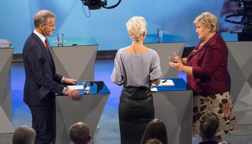 Denne uken ble valgkampen sparket i gang på TV med partilederdebatt og duell mellom Jonas Gahr Støre og Erna Solberg på NRK. Et lite nyskapende konsept, mener medieforsker, som etterlyser flere velgere i TV-studioene. Kanskje blir det bedre i ukene som kommer? (Foto: Tor Erik Schrøder, NTB scanpix)