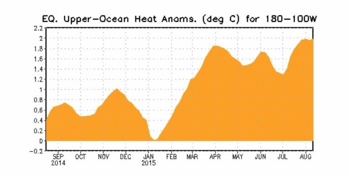 Hvor mye varme vil flyttes over til det østre (ekvatorielle) Stillehavet i høst før det kommer en La Nina og overtar? (Bilde: NOAA)