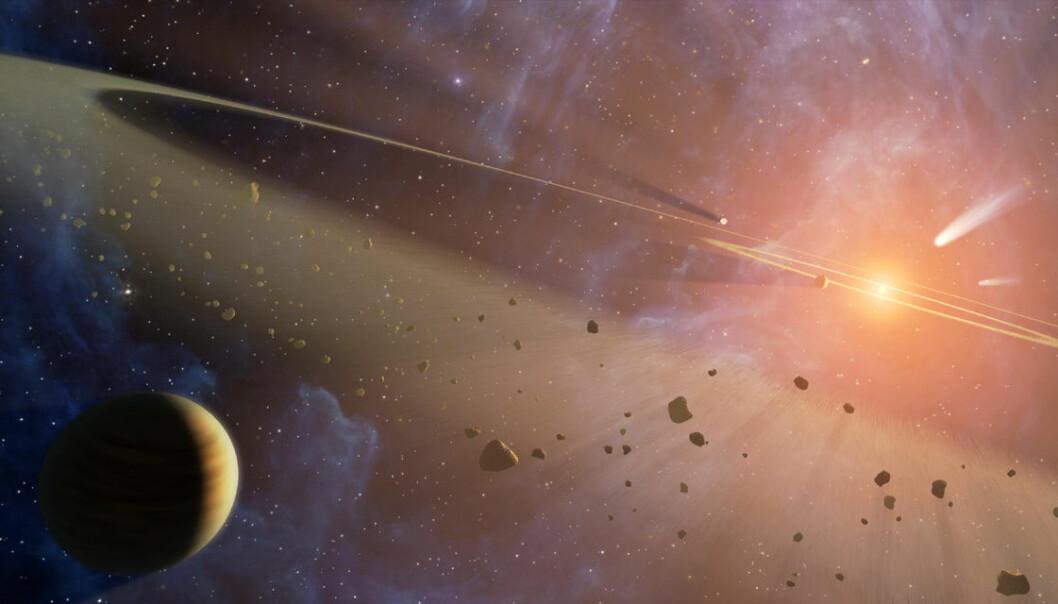 Eksoplaneter kommer i alle størrelser og utførelser. Her er en ung, gigantisk gassplanet i bane rundt en fjern sol. Nå kan du være med på å stemme fram navnet på 20 utvalgte eksoplaneter av de nærmere 2000 som alt er oppdaget med teleskoper på jorda og i verdensrommet. (Illustrasjon: NASA/JPL-Caltech)