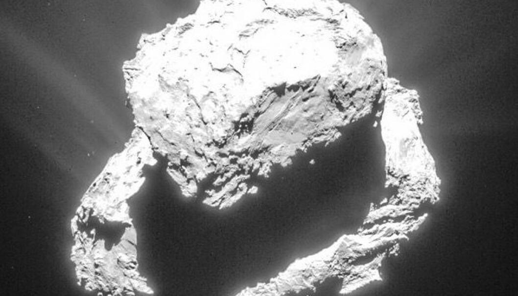 Slik ser kometkjernen til 67P/Churyumov-Gerasimenko når Rosetta går i bane rundt kometen. (Bilde: ESA/Rosetta/NAVCAM, tatt 9. mars på 72 km avstand)
