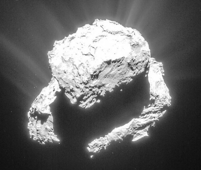 Slik kan en kometkjerne se ut, når lysforholdene er spesielle. Men hva synes du at du ser? (Bilde: ESA/Rosetta/NAVCAM, tatt 9. mars på 72 km avstand). (Foto: (Bilde: ESA/Rosetta/NAVCAM, tatt 9. mars på 72 km avstand))