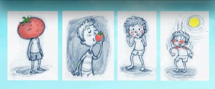 LanPercepts test av uttrykket «du er en tomat». (Foto: (Illustrasjon: NTNU))