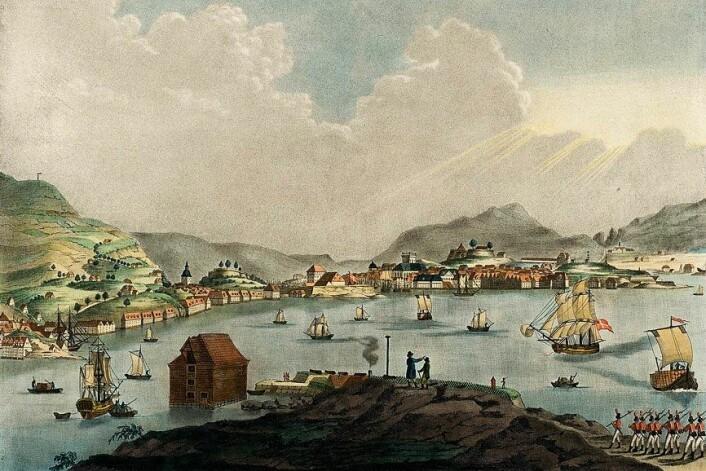 Bergen cirka 1800. Malt av Christian August Lorentzen (1749–1828).
