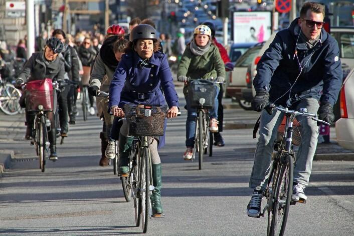 København. Tall fra 47 danske byer viste at uhellsrisikoen går ned når antall kilometer på sykkel øker. (Foto: Colourbox)