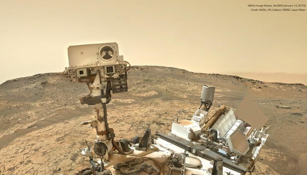 En av mange selfier Curiosity har tatt på sin ferd rundt på Mars. (Foto: NASA, JPL-Caltech, MSSS, Jason Major)
