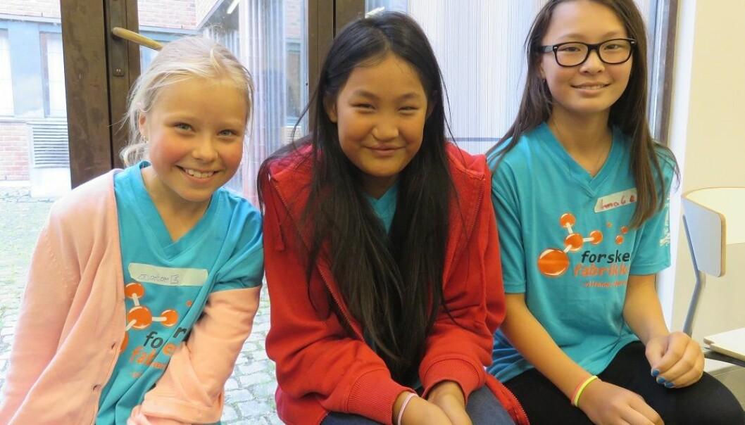 Anine Wiik Nilsen (9), Elise Bremer (10) og Amalie Ruthenbeck (12) har valgt å bruke litt av sommerferien på å lære naturfag. (Foto: Nora Heyerdahl)