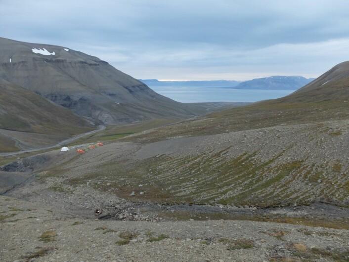 Årets leir. Nederst i bildet kan man skimte toalettet, med utsikt over leirens fjellbekk og drikkevannskilde (vannet hentes lenger oppe!). (Foto: Christina Ekeheien)