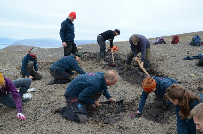 Gjengen i full sving med å åpne et ministeinbrudd i det vi kaller «Grippia-laget». (Foto: Charlotte Sletten Bjorå)