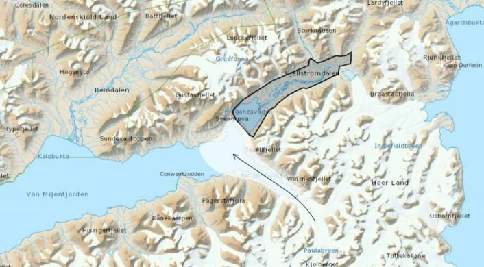 Kart som viser bresjøen som ble dannet da Paulabreen stengte av Kjellstrømdalen. (Foto: (Kart: NGU))