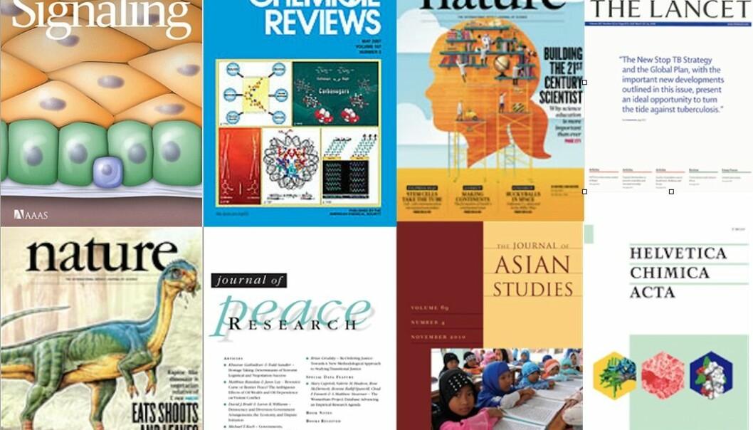 I gjennomsnitt publiserer en norsk forsker over 40 prosent mer i tidsskrifter nå enn for ti år siden.  Forsider fra Wikimedia Commons