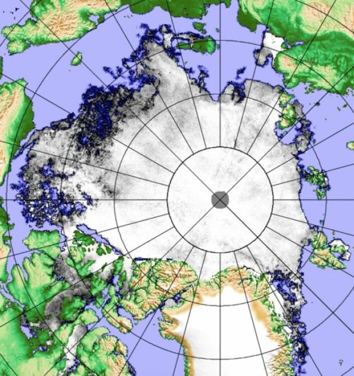 Sjøisens utbredelse i Arktis 28. juli, målt fra japansk satellitt. (Polarview/Univ. i Bremen)