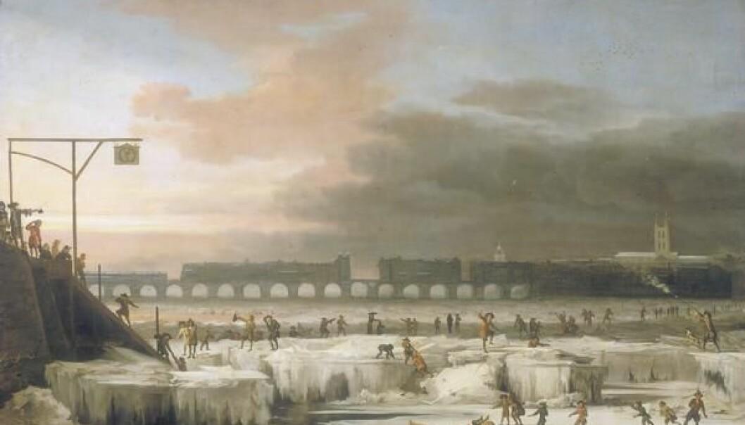 <em>The frozen Thames</em> av Abraham Hondius. Bildet er fra 1677, under den lille istiden. (Bilde: Abraham Hondius)