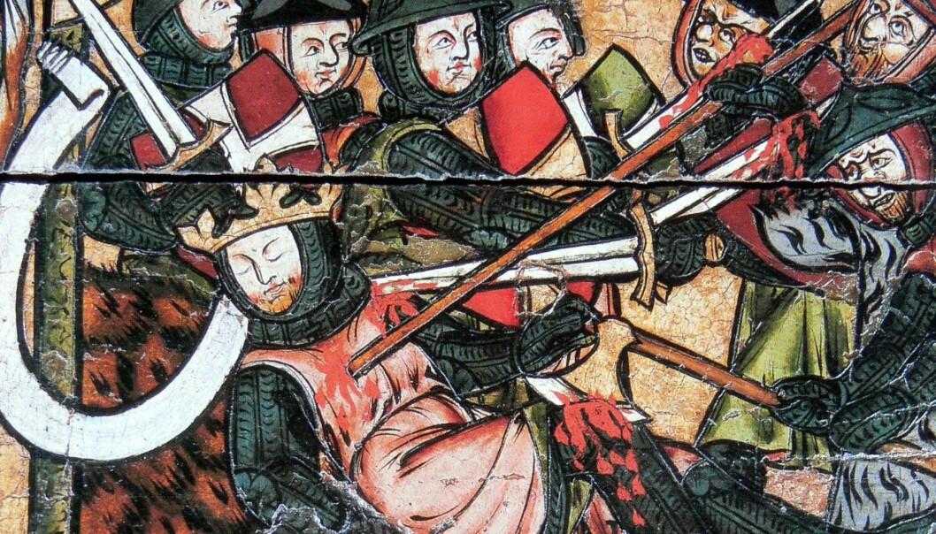 Utsnitt av alterbilde fra Nidaros som viser Olavs død på Stiklestad. (Foto: Wikimedia Commons)