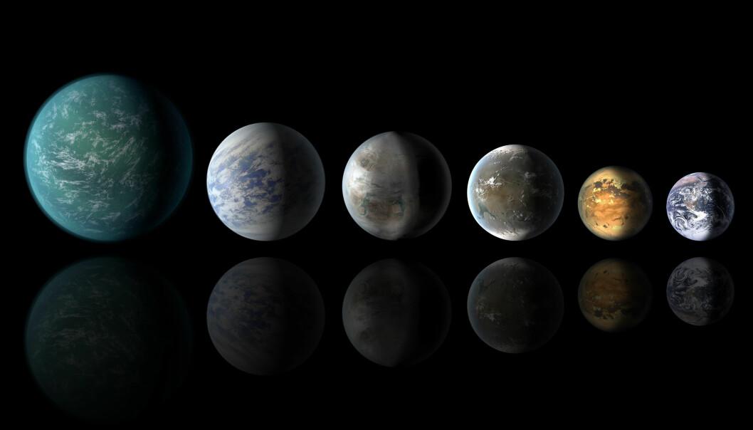 Fremstillingen viser flere av de nyoppdagede Kepler-planetene. Den aktuelle planeten, 452b, ligger som nummer tre fra venstre. Lengst til høyre ligger Jorden. (Illustrasjon: Wendy Stenzel, NASA/AMES/JPL-CALTECH)