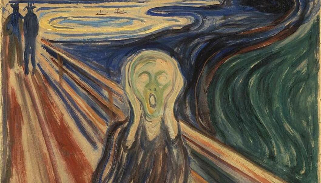 Skriket har et helt eget lydbilde, reservert for frykt, mener forskere. Edvard Munch malte denne versjonen av temaet i 1910. Maleriet ble stjålet fra Munchmuseet i 2004, men ble heldigvis funnet igjen to år senere.  (Tigjengeliggjort av Google Art Project)