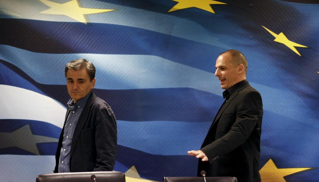 Selv om grekerne viste tillit til sin egen finansminister ved å stemme nei i folkeavstemmingen, måtte den greske finansministeren Yanis Varoufakis gå av. I går ble han erstattet av Euclid Tsakalotos (til venstre).  (Foto: Reuters)
