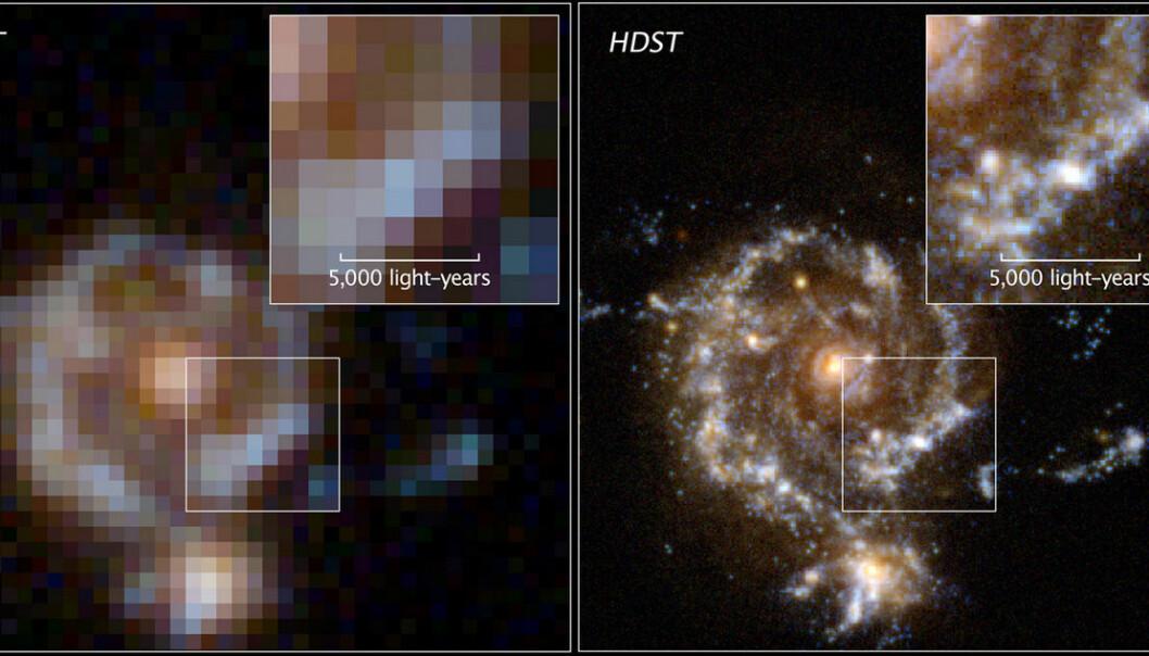 Bildet gir et inntrykk av forskjellen i skarphet på et bilde tatt av romteleskopet Hubble (til venstre) og det nye store romteleskopet High Definition Space Telescope (HDST), som er foreslått for oppskytning en gang etter 2030. Blant forslagsstillerne er NASA, Jet Propulsion Laboratory og AURA, organisasjonen som både drifter Hubble-teleskopet og har planlagt James Webb-teleskopet som etter planen skal skytes opp i 2017. (Bilde: Association of Universities for Research in Astronomy)