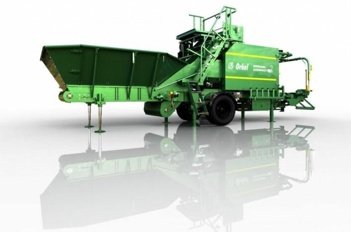 Kompaktor- er maskinen som er utviklet av Orkel. Den har en unik evne til å presse og pakke ulike typer bulkmaterialer- alt fra mais og flis til torskehoder. Dette gir betydelige miljøgevinster og bedre ressursutnyttelser.   (Foto: (Kilde: Orkel))