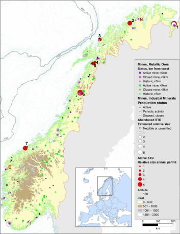 Oversikt over hvilke gruver, enten nedlagt eller i drift, og hvilken forbindelse de har til norskekysten.  (Foto: (Kilde: Framsenteret))