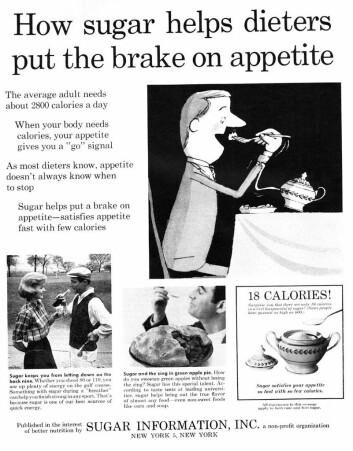 Sukker stopper matlysten, ifølge en annonse fra Sugar Information i Life magazine fra 1961.  (Foto: Sugar Information, Inc, tilgjengeliggjort på flickr av Classic Film)
