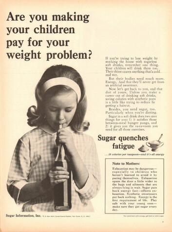 Advarsel til mødre: Utmattelse er farlig, så sørg for å gi ungene brus før det går galt! Fra en annonse fra Sugar Information, Inc i Life Magazine i 1965.  (Foto: Sugar Information, Inc, tilgjengeliggjort på flickr av SenseiAlan)
