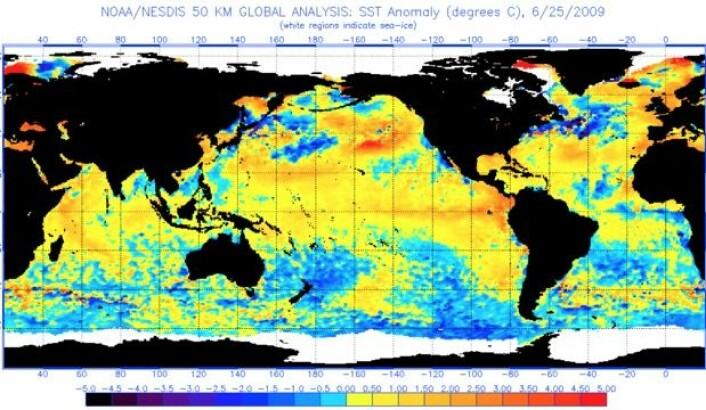 Havoverflatetemperatur (avvik fra normalen) 25. juni 2009. (Bilde: NOAA)
