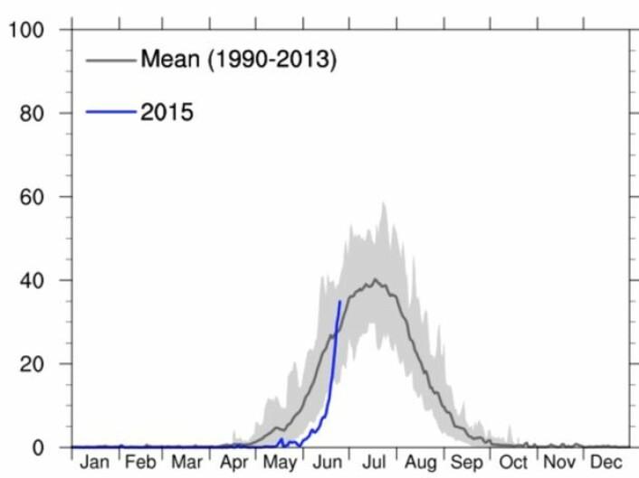 Prosentandelen av Grønlands bre-areal hvor det foregår smelting. (Bilde: DMI)
