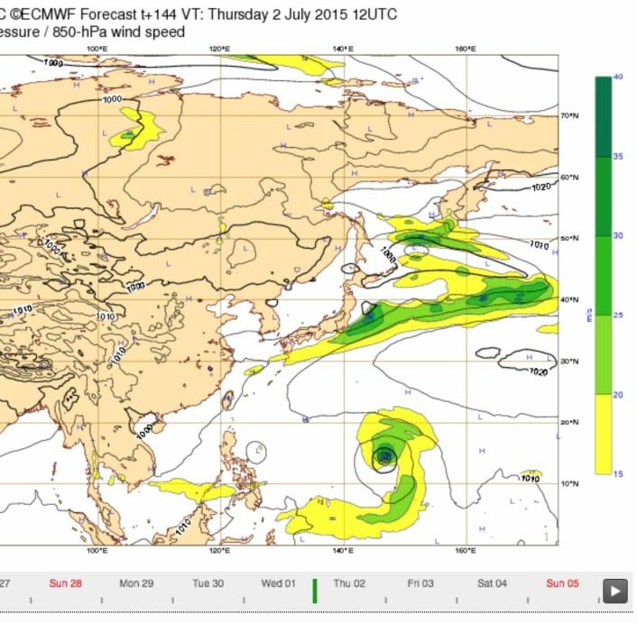 Værprognosen for helgen og neste uke tyder på mye vestavind langs ekvator vest i Stillehavet. (Bilde: ECMWF)