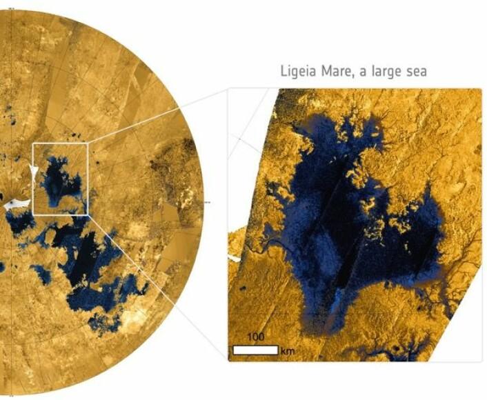 Cassini/Huygens har avslørt store sjøer med flytende hydrokarboner på den beinkalde månen Titan. (Bilde: NASA)
