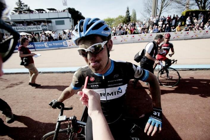 Gabriel Rasch etter 23.-plassen Paris–Roubaix i 2011. Thor Hushovd ble nummer åtte, 47 sekunder bak vinneren Johan Vansummeren fra Belgia. (Foto: Stian Lysberg Solum, NTB scanpix)