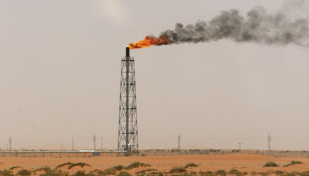 Opec-landene fortsetter å produsere olje som før. En gassflamme i ørkenen nær oljefeltet Khurais i Saudi-Arabia. (Foto: Ali Jarekji, Reuters)