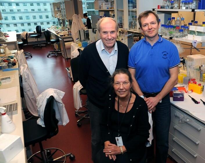 Prosjektledergruppen ved Radiumhospitalet består av seniorforsker Tore Skotland (bak t.v.), seniorforsker Tore Geir Iversen i tillegg til professor Kirsten Sandvig. (Foto: Atle Abelsen)