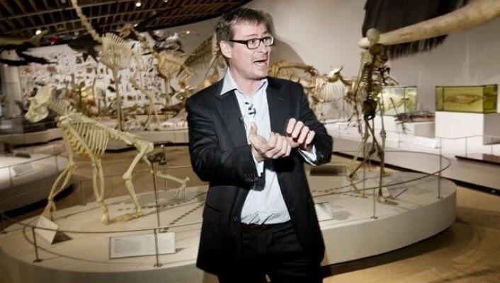 Eske Willerslev i samband med publisering av DNA frå eit steinaldermenneske i 2010. (FOTO: JENS ASTRUP / AFP)