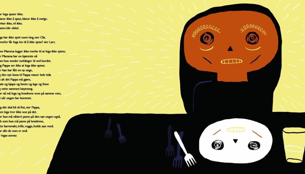 Boka Krigen handler om lille Inga som opplever foreldrenes skilsmisse som en krig. Hun slutter å spise og begynner å skade seg selv.  (Illustrasjon: Kaja Dahle Nyhus, fra boka Krigen)