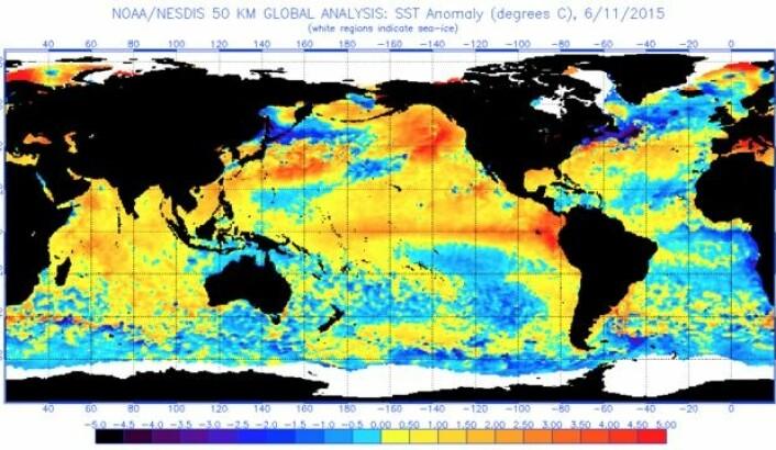 Det er varmt i havoverflaten mange steder i verden nå. (Bilde: NOAA)