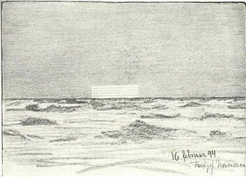 Speilbillede av solen den 16. februar 1894. Skisse av Fridtjof Nansen. (Foto: (Kilde: Wikisource))