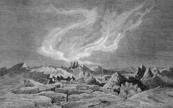 Isskruinger under nordlys i januar 1873. Litografi etter tegning av Julius Payer. (Foto: Forfatterne)